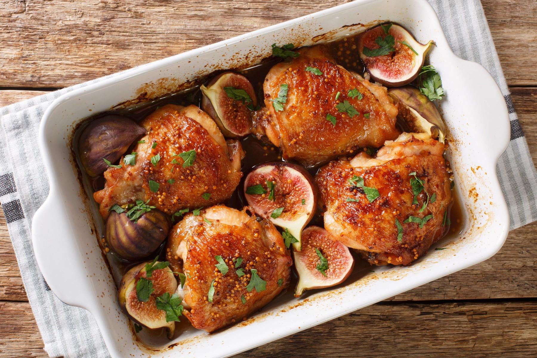 Pečen piščanec s figami
